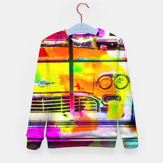 Thumbnail image of yellow classic taxi car with colorful painting abstract in pink orange green Kid's Sweater, Live Heroes