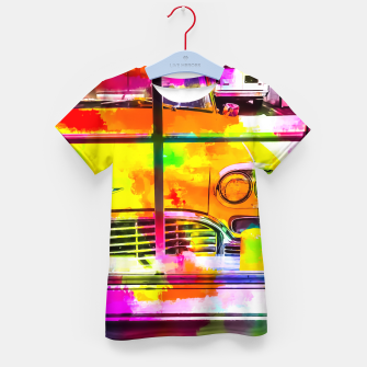 Thumbnail image of yellow classic taxi car with colorful painting abstract in pink orange green Kid's T-shirt, Live Heroes
