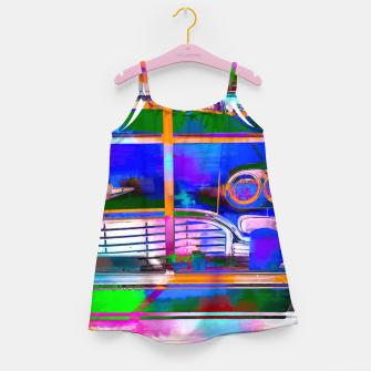 Thumbnail image of blue classic taxi car with painting abstract in green pink orange  blue Girl's Dress, Live Heroes