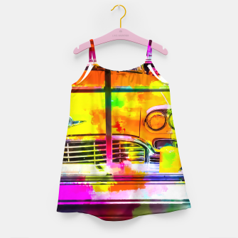 Thumbnail image of yellow classic taxi car with colorful painting abstract in pink orange green Girl's Dress, Live Heroes
