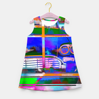 Thumbnail image of blue classic taxi car with painting abstract in green pink orange  blue Girl's Summer Dress, Live Heroes