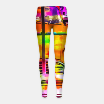 Thumbnail image of yellow classic taxi car with colorful painting abstract in pink orange green Girl's Leggings, Live Heroes