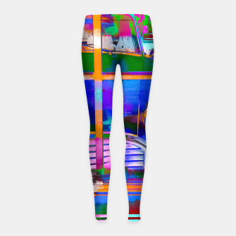 Thumbnail image of blue classic taxi car with painting abstract in green pink orange  blue Girl's Leggings, Live Heroes