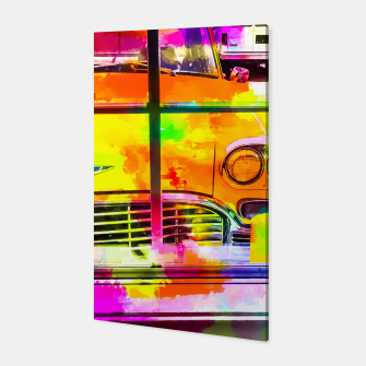 Thumbnail image of yellow classic taxi car with colorful painting abstract in pink orange green Canvas, Live Heroes