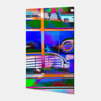 Thumbnail image of blue classic taxi car with painting abstract in green pink orange  blue Canvas, Live Heroes