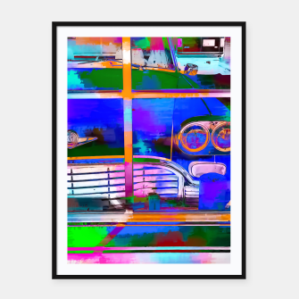 Thumbnail image of blue classic taxi car with painting abstract in green pink orange  blue Framed poster, Live Heroes