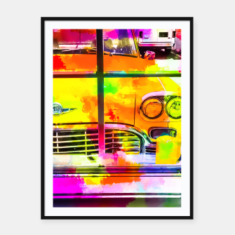 Thumbnail image of yellow classic taxi car with colorful painting abstract in pink orange green Framed poster, Live Heroes