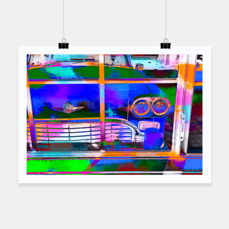 Thumbnail image of blue classic taxi car with painting abstract in green pink orange  blue Poster, Live Heroes