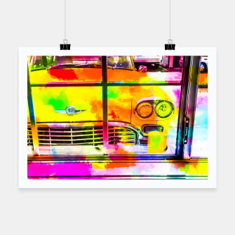 Thumbnail image of yellow classic taxi car with colorful painting abstract in pink orange green Poster, Live Heroes