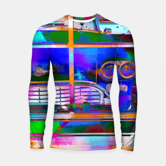Thumbnail image of blue classic taxi car with painting abstract in green pink orange  blue Longsleeve Rashguard , Live Heroes