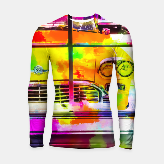 Thumbnail image of yellow classic taxi car with colorful painting abstract in pink orange green Longsleeve Rashguard , Live Heroes