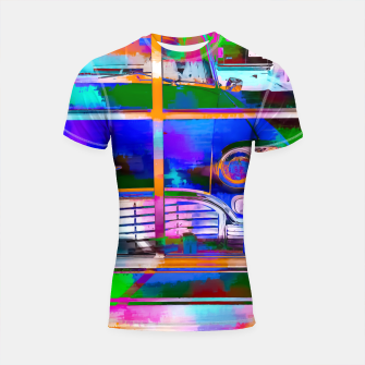 Thumbnail image of blue classic taxi car with painting abstract in green pink orange  blue Shortsleeve Rashguard, Live Heroes