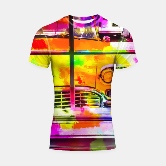 Thumbnail image of yellow classic taxi car with colorful painting abstract in pink orange green Shortsleeve Rashguard, Live Heroes