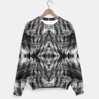 Miniaturka vintage geometric symmetry pattern abstract background in black and white Sweater, Live Heroes