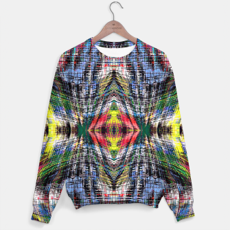 geometric symmetry pattern abstract background in blue yellow green red Sweater obraz miniatury