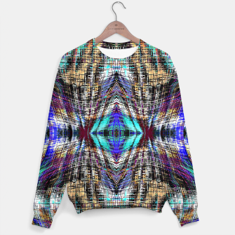 Thumbnail image of geometric symmetry pattern abstract background in blue brown pink Sweater, Live Heroes