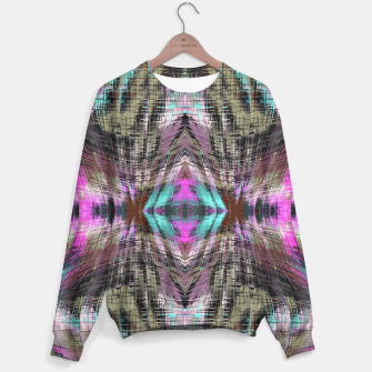 Thumbnail image of geometric symmetry pattern abstract background in pink blue brown Sweater, Live Heroes