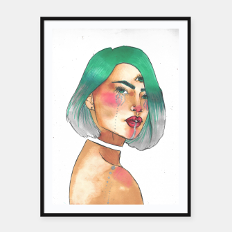 Thumbnail image of Third eye turquoise Framed poster, Live Heroes
