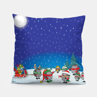 Thumbnail image of Hedgehogs Christmas Party Pillow, Live Heroes