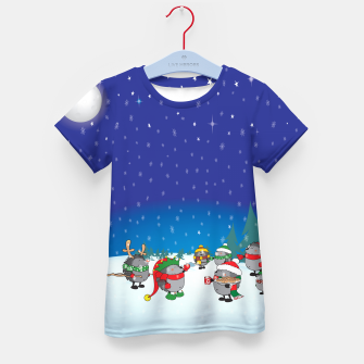 Thumbnail image of Hedgehogs Christmas Party Kid's T-shirt, Live Heroes