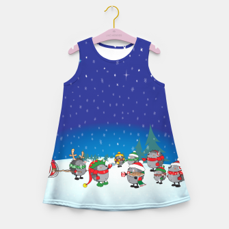 Thumbnail image of Hedgehogs Christmas Party Girl's Summer Dress, Live Heroes