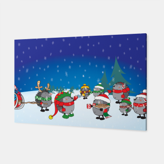 Thumbnail image of Hedgehogs Christmas Party Canvas, Live Heroes