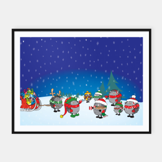 Thumbnail image of Hedgehogs Christmas Party Framed poster, Live Heroes