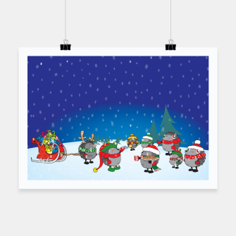 Thumbnail image of Hedgehogs Christmas Party Poster, Live Heroes