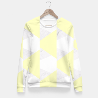 Thumbnail image of Yellow White Gray Geometric Pattern Fitted Waist Sweater, Live Heroes