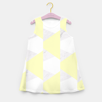 Miniatur Yellow White Gray Geometric Pattern Girl's Summer Dress, Live Heroes
