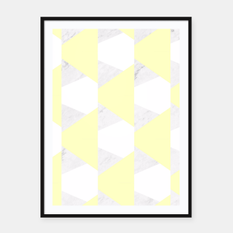 Thumbnail image of Yellow White Gray Geometric Pattern Framed poster, Live Heroes