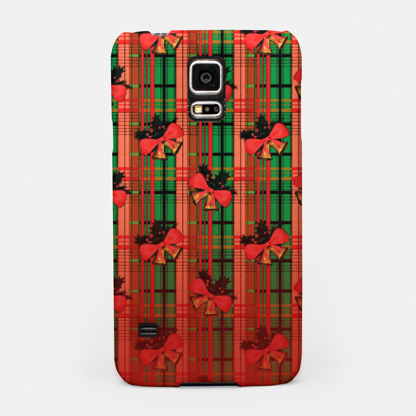 Foto red and green xmas bells plaid pattern Samsung Case - Live Heroes