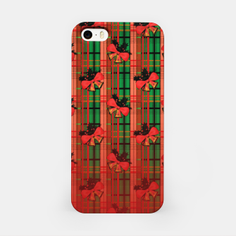 red and green xmas bells plaid pattern iPhone Case Bild der Miniatur