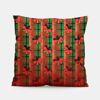 Miniatur red and green xmas bells plaid pattern Pillow, Live Heroes