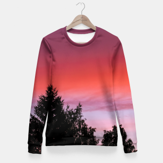 Miniatur Sunset and trees Fitted Waist Sweater, Live Heroes