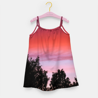 Miniatur Sunset and trees Girl's Dress, Live Heroes