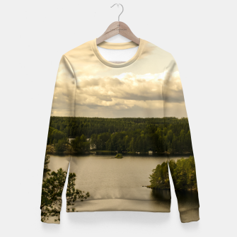 Miniatur Forest and lake Fitted Waist Sweater, Live Heroes