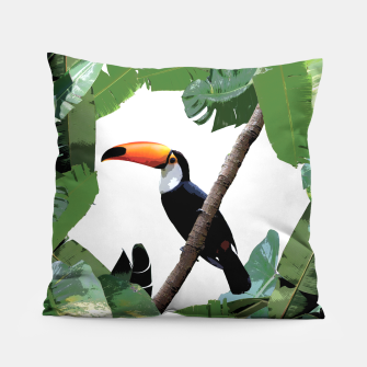 Miniatur Toucan and leaves Pillow, Live Heroes