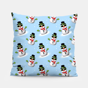 Cool Snowman with Shades and Adorable Smirk Winter pattern Pillow thumbnail image