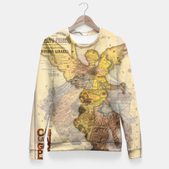 Miniatur Angel Vintage Map DF Fitted Waist Sweater, Live Heroes