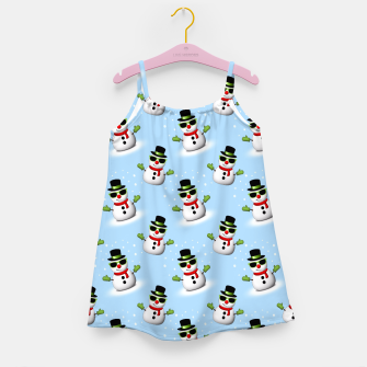Cool Snowman with Shades and Adorable Smirk Winter pattern Girl's Dress thumbnail image