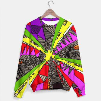 Imagen en miniatura de psychedelic geometric pattern drawing abstract background in red pink green yellow Sweater, Live Heroes