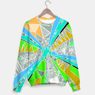 Miniaturka psychedelic geometric pattern drawing abstract background in blue green yellow brown Sweater, Live Heroes