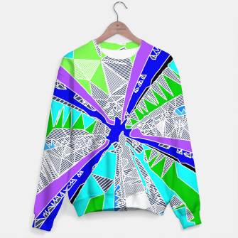 Miniaturka psychedelic geometric pattern drawing abstract background in blue purple green Sweater, Live Heroes