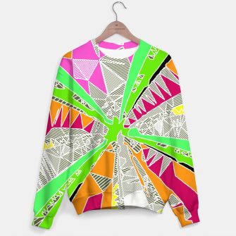 Miniaturka psychedelic geometric pattern drawing abstract background in green orange red pink Sweater, Live Heroes