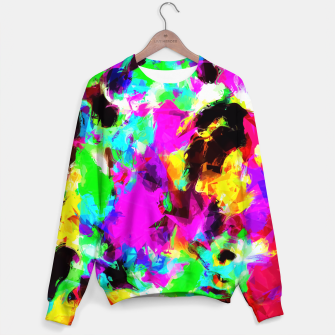 Miniaturka psychedelic geometric pattern painting abstract background in pink red blue green yellow orange Sweater, Live Heroes