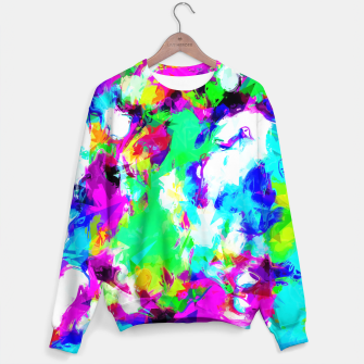Imagen en miniatura de psychedelic geometric pattern painting abstract background in blue green pink yellow Sweater, Live Heroes