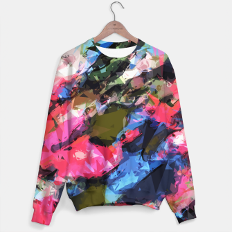 Miniaturka psychedelic geometric pattern painting abstract background in pink blue green Sweater, Live Heroes