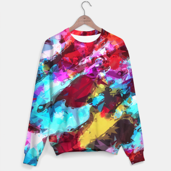 Imagen en miniatura de psychedelic geometric pattern painting abstract background in blue red yellow pink Sweater, Live Heroes