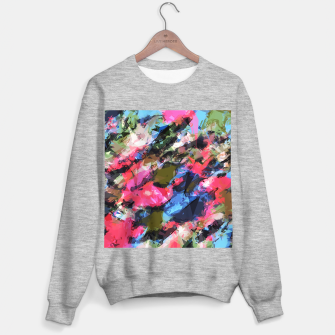 Miniatur psychedelic geometric pattern painting abstract background in pink blue green Sweater regular, Live Heroes